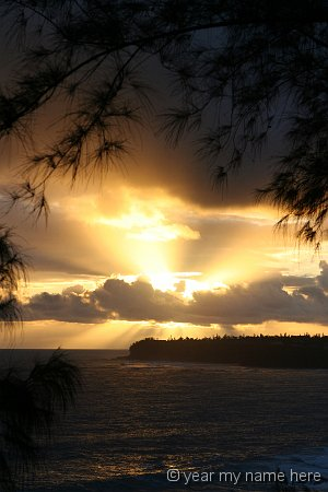 Sunburst over Princeville Point 2718